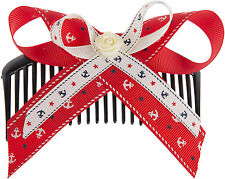 Sailor SHARIE Anchor Anker Ribbon BOW Vintage HAARKAMM Hair Comb Rockabilly
