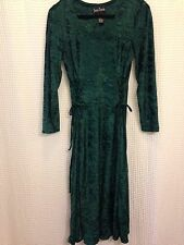 90s Green CRUSHED VELVET Goth Witchy Grunge CORSET TIES Gypsy Midi Dress