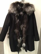 Yves Salomon Army short parka black water proof Natural fox fur lining NEW