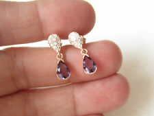 925K STERLING SILVER TURKISH AMETHYST TOPAZ DROP HURREM SULTAN EARRINGS ROSE