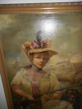 Antique oil painting,{ Beautiful woman with her dog, signed Hanus Wolf }.