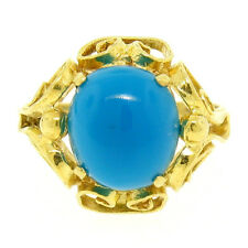 18k Solid Yellow Gold 2.40ct Oval Cabochon Turquoise Open Work Solitaire Ring