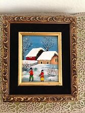 Enamel on Copper Painting by Claire. Winter Scene