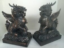 Chinese Dragon Foo Dog Statue  Copper Patina Resin Pair