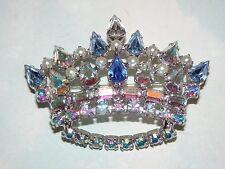Vtg B. David Blue Crystal AB Rhinestone Fx Pearl Silver Tone Crown Brooch Sgn