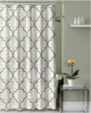 Shower Curtain Taupe and Gray Quatrefoil Damask Decorative Fabric Bathroom