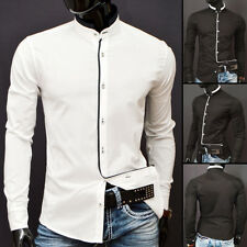 BLACK WHITE Men Shirt | Stand-Up Collar Piping Line Casual Formal | FREE POST!