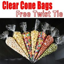 100x Candy Buffet Sweet Treat Loot Party Supplies Cone Shaped Favor Bags XMAS #V