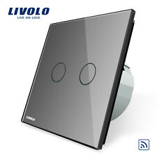 Livolo New EU Type 110-250V 2 Gang 1 Way Grey Wall Light Remote Touch Switch