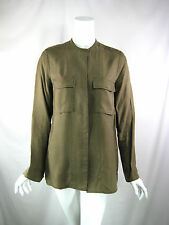 CLOSED Army Green Striped Long Sleeve Button Front Blouse Size Medium