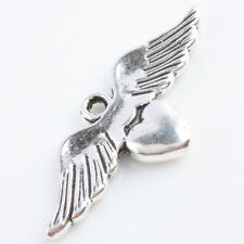 13pcs Tibetan Silver Angel Wings Heart LOVE Charms Pendant Beads Jewelry Finding