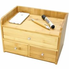Bamboo Desk Tidy with 3 Drawers Stationery Organiser