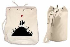 BANKSY KIDS ON GUNS DUFFLE BAG College Rucksack Gym Beach Backpack Sports