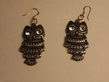 Danglig owl earrings with bright crytal eyes, wire marked 925 or sterling