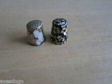 TWO VERY PRETTY METAL THIMBLES INLAID WITH MOTHER OF PEARL FLOWER & MOSAIC