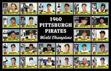 1960 Pittsburgh Pirates World Series Baseball Card Poster 17x11 Unique Art Decor
