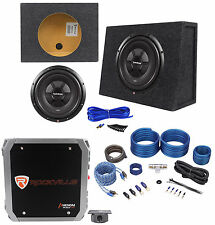 "Rockford Fosgate R2SD2-12 12"" Car Sub+Shallow Enclosure+500W Amplifier+Amp Kit"