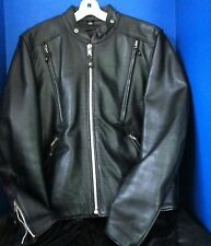 FIRST LEATHER~Black GENUINE LEATHER MOTORCYCLE JACKET w/ Snap-Out Liner~Large