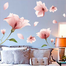 Removable Pink Flower Mural Wall Sticker Home Vinyl Art Decals Living Room Decor