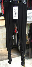 Joseph Ribkoff BNWT UK 10 Simply Gorgeous Ruche Leg Black Stretc Jersey Leggings