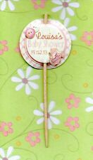 12 LUXURY PERSONALISED BABY SHOWER CUP CAKE FLAG Party Pick Topper Decoration