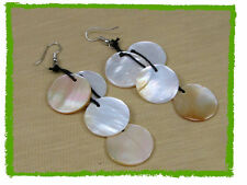 Mother of Pearl Sea Shell Disc Dangle Earrings #sun-695