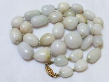 CHINESE VINTAGE LAVENDER NUGGET JADE BEAD NECKLACE, 12kgf clasp