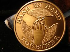 Bronze Alcoholics Anonymous AA - Hand In Hand,  Medallion coin Narcotics NA *1