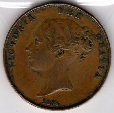 1855 QUEEN VICTORIA ONE PENNY 1d - OLD THICK STYLE COIN - YOUNG HEAD (a)