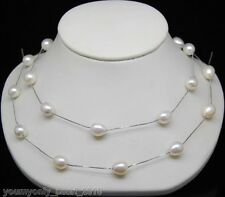 "MP"" Fine 8-9mm AAA+ white Oval pearl necklaces chain 36""Long"
