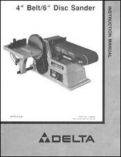 Delta 4 Inch Belt 6 Inch Disc Sander Ops & Parts Manual