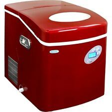 Large Red 50 Lb Countertop Portable Ice Machine, Compact Electric Cube IceMaker
