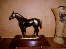 "VINTAGE  BRASS HORSE STATUE HEAVY AMERICAN QUATER RANCH FARM ""SIGNED"""