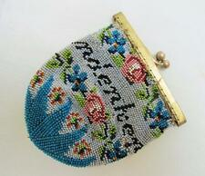 "ANTIQUE VICTORIAN GERMAN BEADED BEADWORK MOTTO PURSE RETICULE ""MEMORY FOR"" c1825"