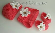 NEW Newborn Baby Girl Flower Hat Diaper Cover and Booties infant Photo Prop Gift