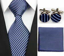 Blue 100% Pure Silk Neck Tie Cuff-links &Handkerchief Set White Diagonal Stripes