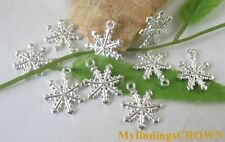 60pcs Silver plated snowflake charms FC8158