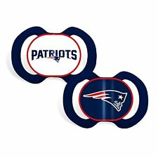 NEW ENGLAND PATRIOTS 2-PACK BABY INFANT ORTHODONTIC PACIFIER SET NFL FOOTBALL