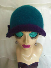 Teal & Purple 'Vintage Inspired' Crocheted Felted Cloche Flapper Hat