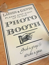 Vintage Rustic Retro Photo Booth Table Sign Wedding Party Birthday Grab a Prop
