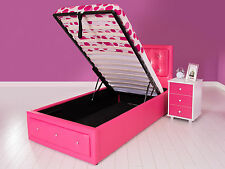 Gas Lift Up Crystal Diamante PU Faux Leather Ottoman Storage Bed 3FT 4FT6 5FT