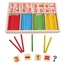 Baby Educational Puzzle Toy Wooden Number Cards and Counting Rods with Box