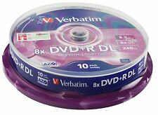 50 DVD +R VERBATIM  8X DL DUAL DOUBLE LAYER PER GIOCHI  XboX 8,5 GB BOX DA 10