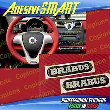 2 Adesivi Resinato Sticker 3D BRABUS Smart Nero Argento Volante
