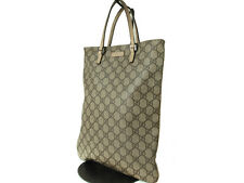 Authentic GUCCI GG Pattern PVC Canvas Leather Browns Tote Bag GT12401L