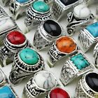 Mix Style 10pcs Turquoise Vintage Silver Women Mens Rings Wholesale Jewerly Lots