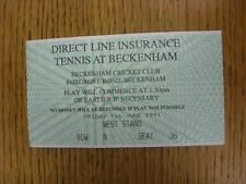 07/06/1991 tennis ticket: ligne directe d'assurance tennis [à Beckenham cricket clu