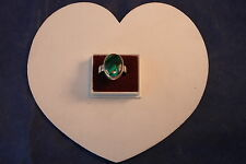 9.25 Silver Ring With  Blue Abalone Gem  6.1Gr. 2 x 1.5 Cm Wide Size  L - O - S