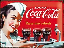 Coca Cola Pause and Refresh Waitress large embossed metal sign     (na 4030)