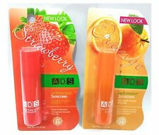 ADS 2 PCS STRAWBERRY & ORANGE FLAVOUR LIP PROTECTANT/SUNSCREEN SPF 20 LIP CARE